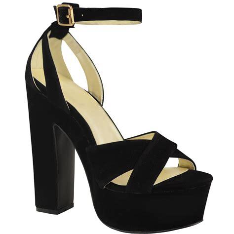 chunky platform high heels new womens platform high heel sandals chunky cross