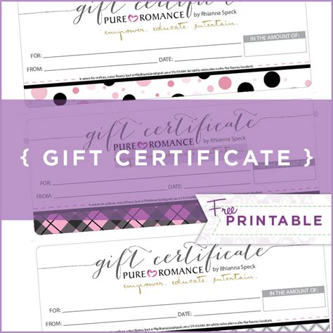 pure romance gift certificate template aipc2006 com