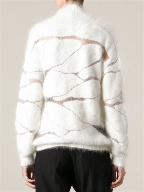 abstract pattern sweater contemporary knitwear fluffy white sweater with abstract