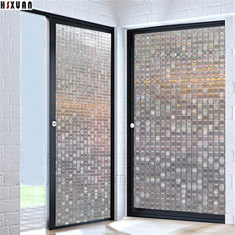Sliding Glass Door Privacy Pvc Mosaic Tint Window Stickers 90x100cm Decorative Sliding Glass Door Self Adhesive Window