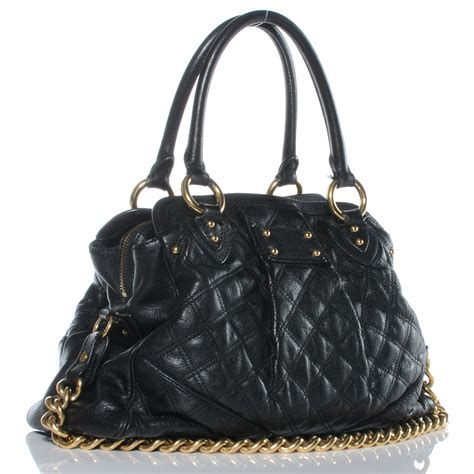 Marc Dita Large Quilted Purse by Marc Quilted Leather Alyona Bag Black 42757