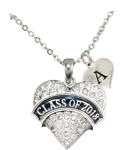 Custom Class of 2018 Graduation Gift Silver Necklace Jewelry Choose Initial   eBay