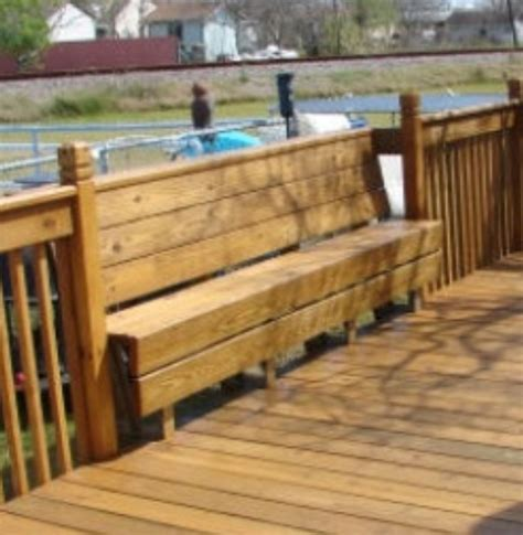 deck railing bench design plans bench incorporated into deck railing my style pinterest