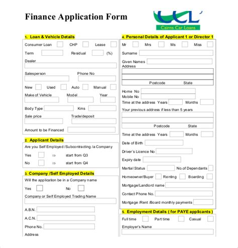 finance templates loan application templates 6 free sle exle