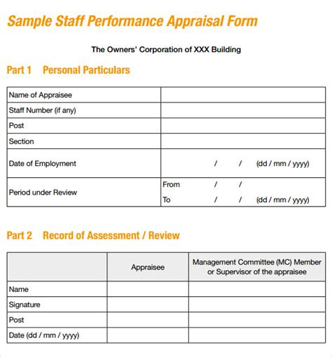 staff performance appraisal form template sle performance evaluation form 7 documents in