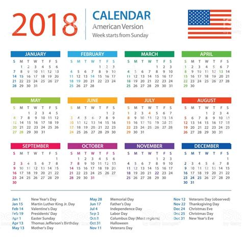Calendario 2018 Usa 2018 Calendar Usa Uk Free Printable Calendar