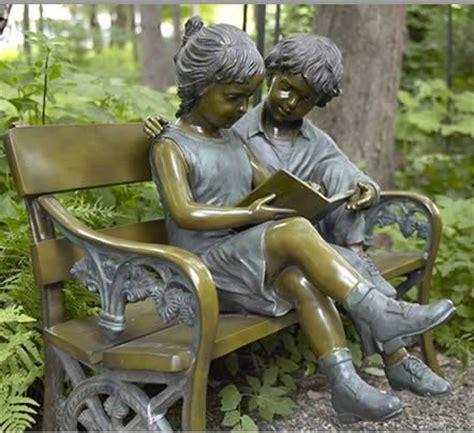 bench reading bronze reading bench garden statue statues readers