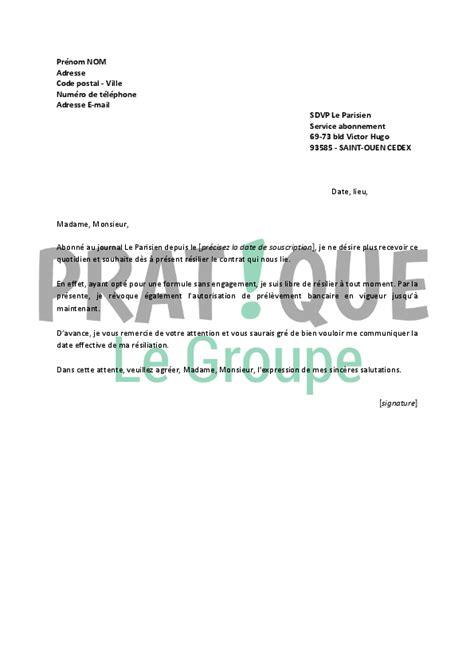 Lettre De Résiliation Abonnement Quotidien Modele Lettre Resiliation Quotidien Document