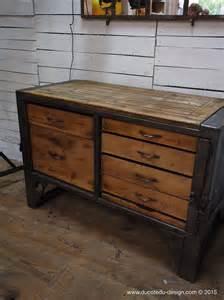 etabli industriel bureau bois metal