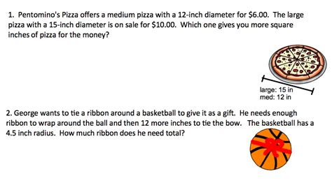 Area And Circumference Of A Circle Word Problems Worksheet