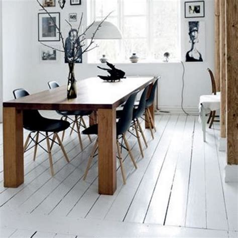 White Floor Paint Home Dining Room With Wood Flooring