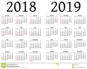 Colombia Calendrier 2018 Calendar For 2018 And 2019 Stock Illustration Image Of