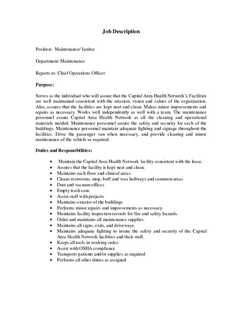 cover letter for janitor position doc 700990 best resume objective sles resume exles