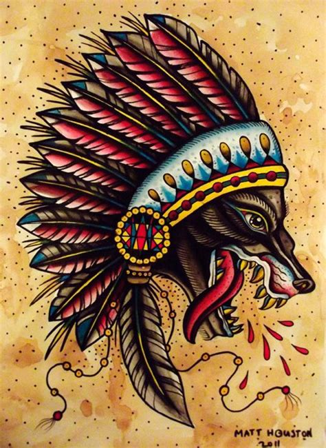 classic american tattoo wolf apache traditional tattoos the