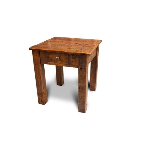 barnwood end table w drawer