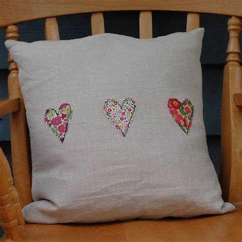 Handcrafted Cushions - handmade linen and liberty print cushion by handmade at