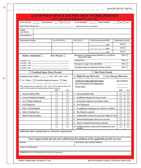 confined space entry permit template bing images