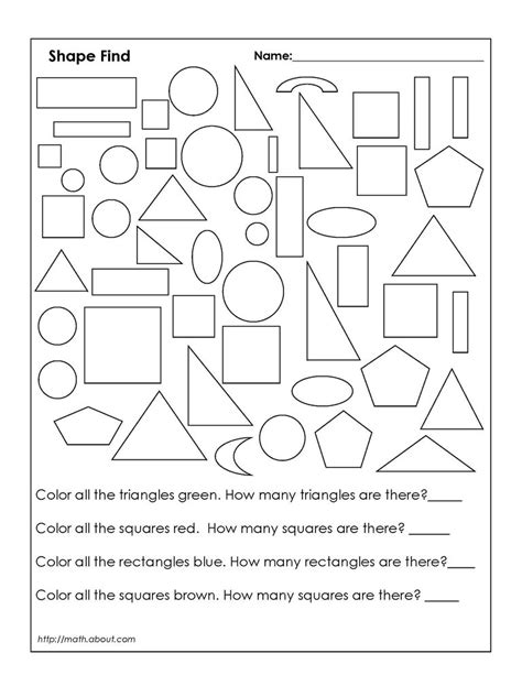 worksheet shapes grade 1 geometry worksheets for students in 1st grade