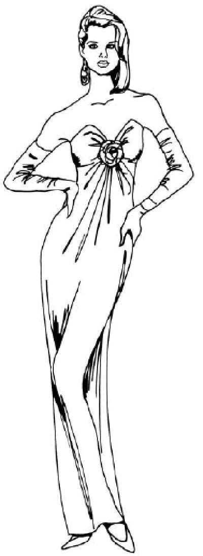 2. Draw the Dress Outline - How to Draw a Woman in an
