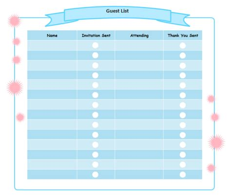 birthday guest list template printable birthday checklist templates