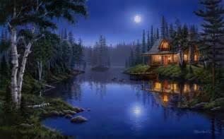 Wall Murals Vancouver moonlight serenade mark daehlin forest lake light house