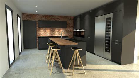 cuisine anthracite et bois cuisine industriel design gris ilot