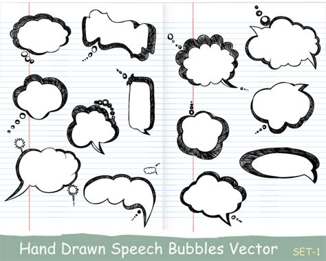 hand drawing pattern photoshop hand drawn speech bubbles vector set 1 vector
