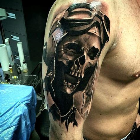 crazy pilot skull tattoo idea