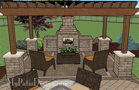 Outside Patios Designs Pergola Covered Fireplace Patio Tinkerturf