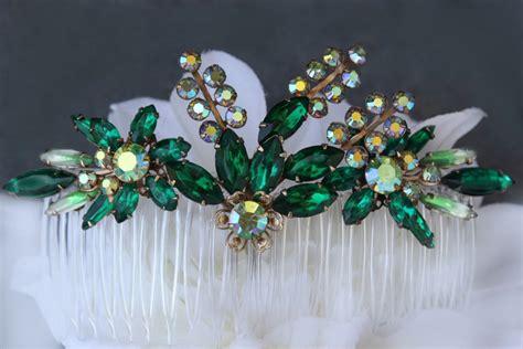 wedding accessories village green bridal hair accessorieshair combsemerald hair combsgreen