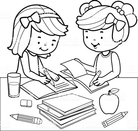 Students Doing Homework Black And White Coloring Book Page Stock Vector Art More Images Of Student Coloring Pages
