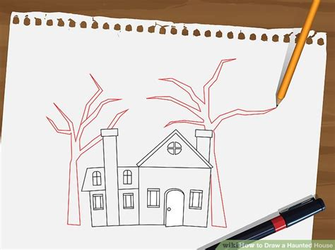 How To Draw A Haunted House 15 Steps With Pictures | how to draw a haunted house 15 steps with pictures