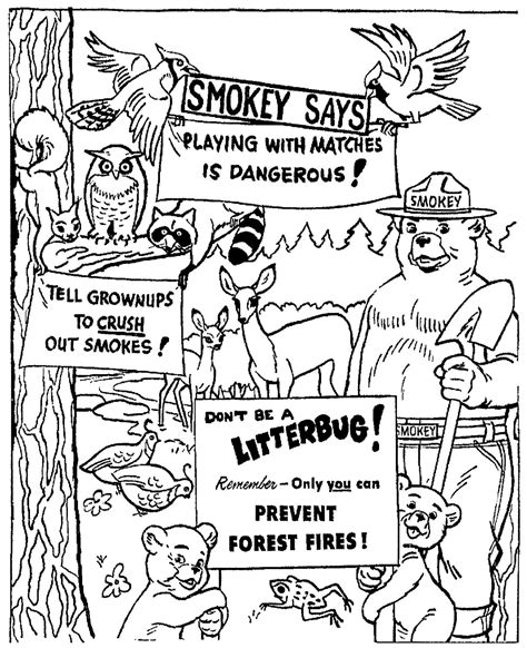 merry christmas smokey the bear coloring pages 30528