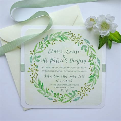 Summer Wedding Invitations by Summer Wedding Invitation With Leaf Garland By Claryce