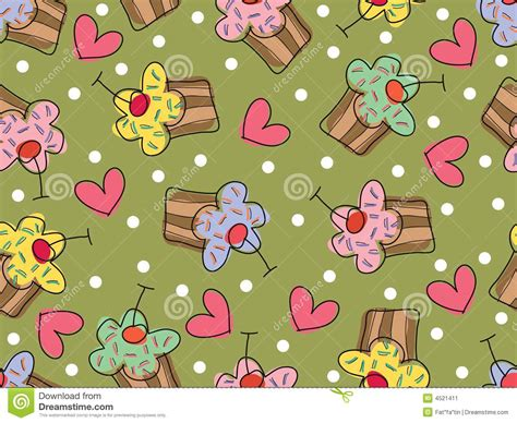 seamless pattern love i love cupcakes seamless pattern stock vector image