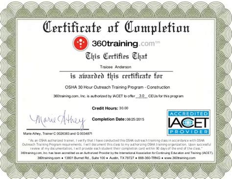 osha 10 certificate template osha certification images