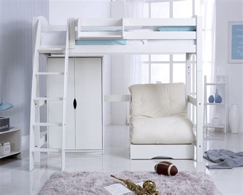 futon or bed high sleeper bed including wardrobe and chair bed