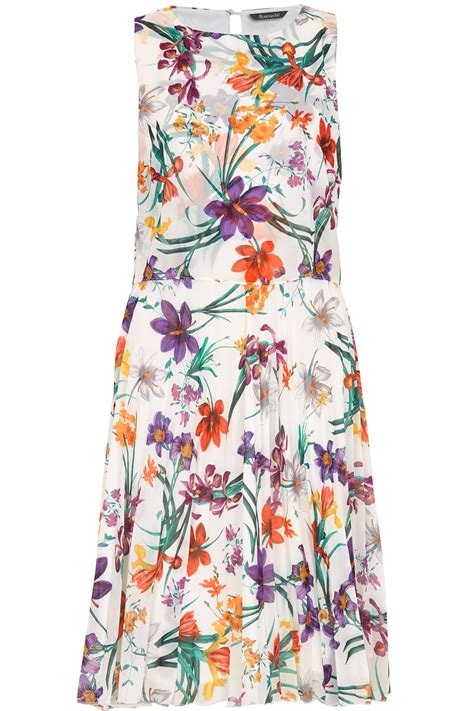 Pleated Floral Print Dress pleated floral print dress