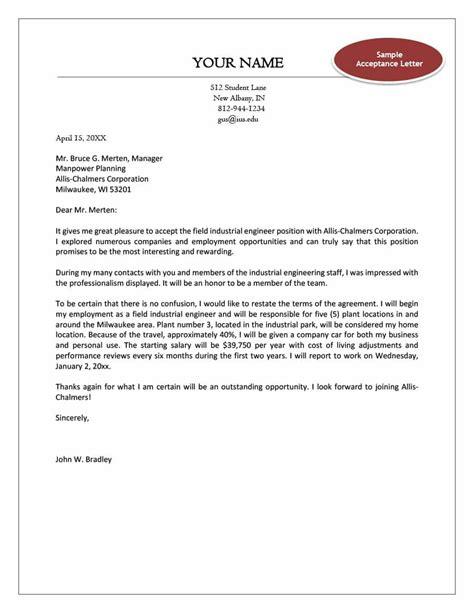 thank you job offer acceptance letter sample letter template