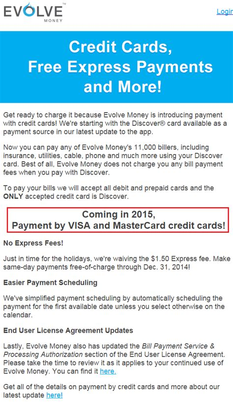 Pay Bills With Visa Gift Card - evolve money adds discover credit cards as bill pay payment source