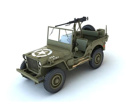 ww2 jeep with machine gun 3d model willys army jeep