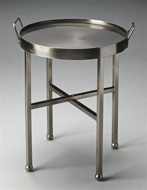Brushed Nickel Table L by Quot Docklands Quot Industrial Look Side Table Brushed Nickel