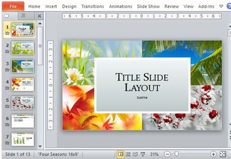 exciting powerpoint templates four seasons powerpoint template