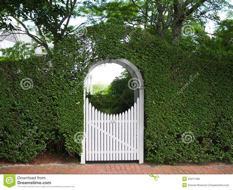 Trellis Plans Free arched garden arbor and gate stock photo image 43471496