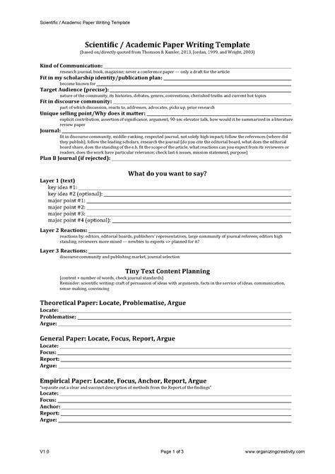 scientific paper template scientific academic paper writing template organizing