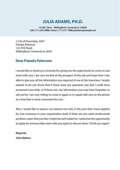 Thank You Letter For Result A Professional Thank You Letter Resume
