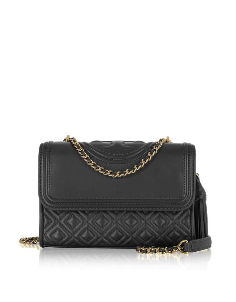 Burch Flemming Small Black 1 burch small fleming quilted lambskin leather convertible shoulder bag black modesens
