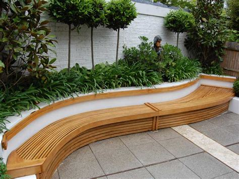 Lovely Curved Wall Seat With Wood Trim And Planted Border Wooden Garden Walls