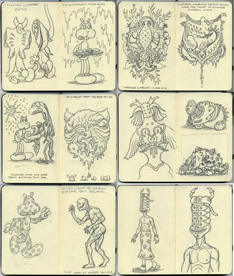 moleskine sketchbook pages from jim woodring s moleskine sketchbook boing boing