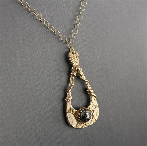 Handmade Bronze Jewelry - gold bronze and pyrite teardrop necklace unique metal